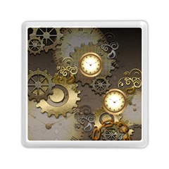 Steampunk, Golden Design With Clocks And Gears Memory Card Reader (Square)