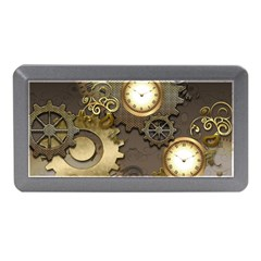 Steampunk, Golden Design With Clocks And Gears Memory Card Reader (mini)