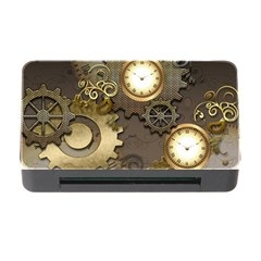 Steampunk, Golden Design With Clocks And Gears Memory Card Reader with CF