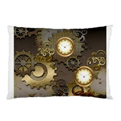 Steampunk, Golden Design With Clocks And Gears Pillow Cases (Two Sides)
