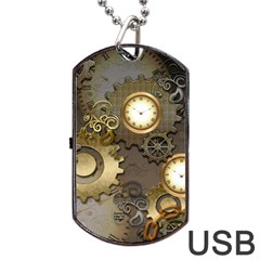 Steampunk, Golden Design With Clocks And Gears Dog Tag USB Flash (Two Sides)