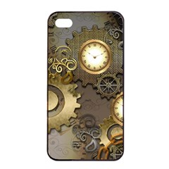 Steampunk, Golden Design With Clocks And Gears Apple Iphone 4/4s Seamless Case (black)