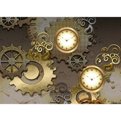 Steampunk, Golden Design With Clocks And Gears Birthday Cake 3D Greeting Card (7x5)