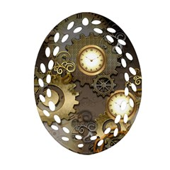 Steampunk, Golden Design With Clocks And Gears Ornament (Oval Filigree)