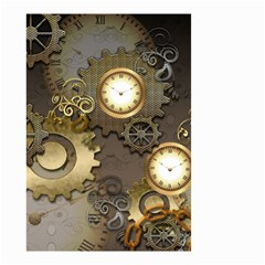 Steampunk, Golden Design With Clocks And Gears Small Garden Flag (Two Sides)