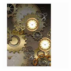 Steampunk, Golden Design With Clocks And Gears Large Garden Flag (Two Sides)