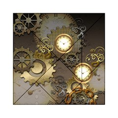 Steampunk, Golden Design With Clocks And Gears Acrylic Tangram Puzzle (6  x 6 )
