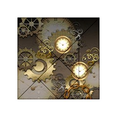 Steampunk, Golden Design With Clocks And Gears Acrylic Tangram Puzzle (4  x 4 )