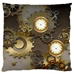 Steampunk, Golden Design With Clocks And Gears Large Cushion Cases (two Sides)