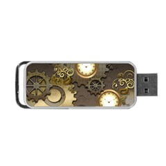 Steampunk, Golden Design With Clocks And Gears Portable Usb Flash (one Side)