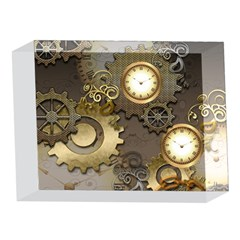 Steampunk, Golden Design With Clocks And Gears 5 x 7  Acrylic Photo Blocks