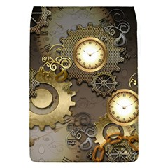 Steampunk, Golden Design With Clocks And Gears Flap Covers (s)