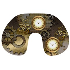 Steampunk, Golden Design With Clocks And Gears Travel Neck Pillows