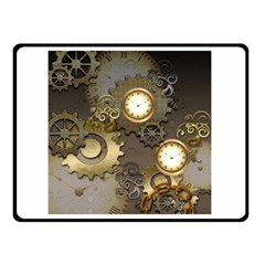 Steampunk, Golden Design With Clocks And Gears Double Sided Fleece Blanket (small)