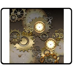 Steampunk, Golden Design With Clocks And Gears Double Sided Fleece Blanket (Medium)