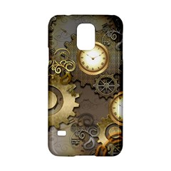 Steampunk, Golden Design With Clocks And Gears Samsung Galaxy S5 Hardshell Case