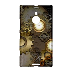 Steampunk, Golden Design With Clocks And Gears Nokia Lumia 1520