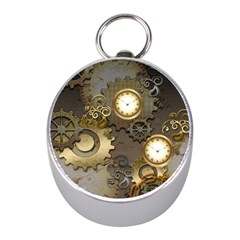 Steampunk, Golden Design With Clocks And Gears Mini Silver Compasses