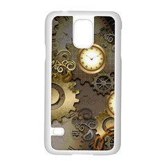Steampunk, Golden Design With Clocks And Gears Samsung Galaxy S5 Case (white)