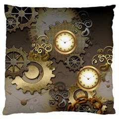 Steampunk, Golden Design With Clocks And Gears Standard Flano Cushion Cases (Two Sides)