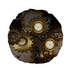 Steampunk, Golden Design With Clocks And Gears Standard 15  Premium Flano Round Cushions