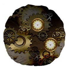 Steampunk, Golden Design With Clocks And Gears Large 18  Premium Flano Round Cushions