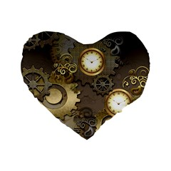 Steampunk, Golden Design With Clocks And Gears Standard 16  Premium Flano Heart Shape Cushions