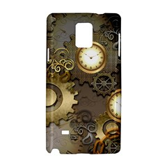 Steampunk, Golden Design With Clocks And Gears Samsung Galaxy Note 4 Hardshell Case