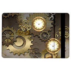 Steampunk, Golden Design With Clocks And Gears iPad Air 2 Flip