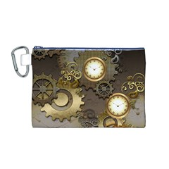 Steampunk, Golden Design With Clocks And Gears Canvas Cosmetic Bag (M)