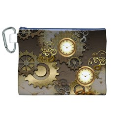 Steampunk, Golden Design With Clocks And Gears Canvas Cosmetic Bag (xl)