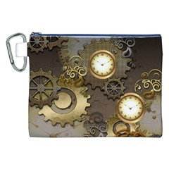 Steampunk, Golden Design With Clocks And Gears Canvas Cosmetic Bag (XXL)