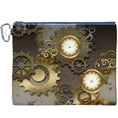 Steampunk, Golden Design With Clocks And Gears Canvas Cosmetic Bag (XXXL)