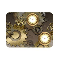 Steampunk, Golden Design With Clocks And Gears Double Sided Flano Blanket (Mini)
