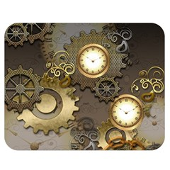 Steampunk, Golden Design With Clocks And Gears Double Sided Flano Blanket (medium)