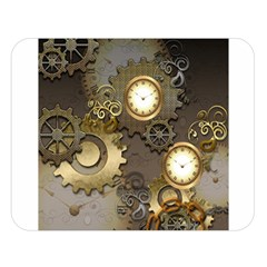 Steampunk, Golden Design With Clocks And Gears Double Sided Flano Blanket (large)