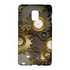 Steampunk, Golden Design With Clocks And Gears Galaxy Note Edge
