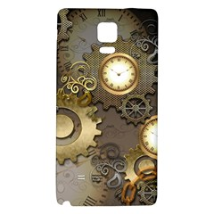 Steampunk, Golden Design With Clocks And Gears Galaxy Note 4 Back Case