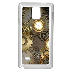 Steampunk, Golden Design With Clocks And Gears Samsung Galaxy Note 4 Case (white)