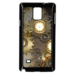 Steampunk, Golden Design With Clocks And Gears Samsung Galaxy Note 4 Case (Black)