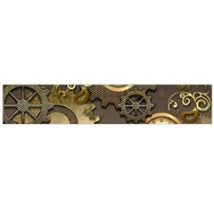 Steampunk, Golden Design With Clocks And Gears Flano Scarf (Large)