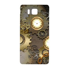 Steampunk, Golden Design With Clocks And Gears Samsung Galaxy Alpha Hardshell Back Case