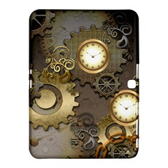 Steampunk, Golden Design With Clocks And Gears Samsung Galaxy Tab 4 (10.1 ) Hardshell Case