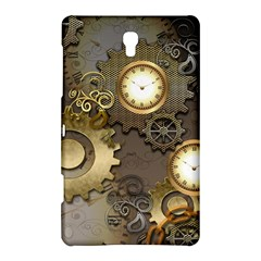 Steampunk, Golden Design With Clocks And Gears Samsung Galaxy Tab S (8.4 ) Hardshell Case