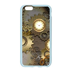 Steampunk, Golden Design With Clocks And Gears Apple Seamless iPhone 6 Case (Color)