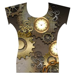 Steampunk, Golden Design With Clocks And Gears Women s Cap Sleeve Top