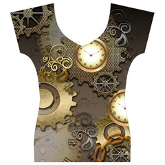 Steampunk, Golden Design With Clocks And Gears Women s V-Neck Cap Sleeve Top