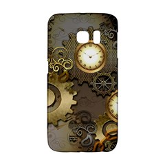 Steampunk, Golden Design With Clocks And Gears Galaxy S6 Edge