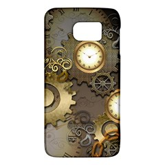 Steampunk, Golden Design With Clocks And Gears Galaxy S6