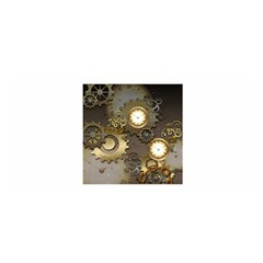 Steampunk, Golden Design With Clocks And Gears Satin Wrap